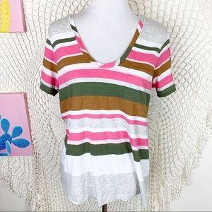 Caslon striped scoop neck front pocket t-shirt L